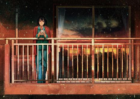 Обои Грустная девушка с чашкой кофе стоит на балконе, by げみ*ティアむ04b