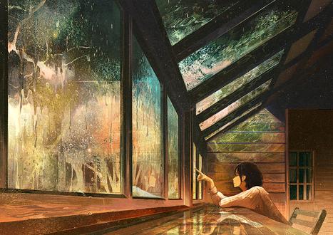 Обои Девушка водит пальцем по мокрому стеклу, by げみ*ティアむ04b
