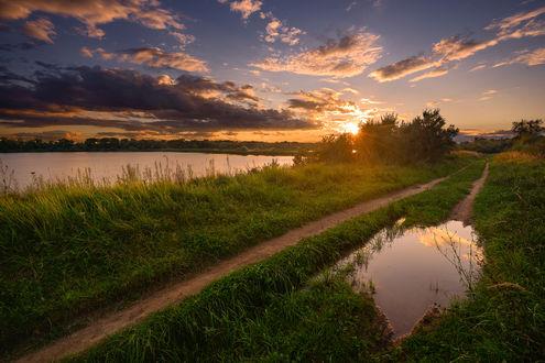 Обои Закатные деревенские краски, фотограф Морозов Юрий