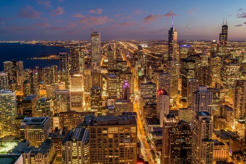 Обои Ночной Чикаго, вид сверху