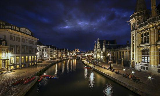 Обои Ночной город, Гент, Германия