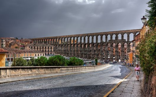 Обои Акведук в Сеговии, Испания