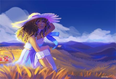 Обои Девушка в белой шляпе сидит в поле на фоне неба