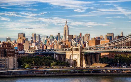 Обои Бруклинский мост, Манхэттен