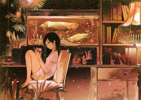 Обои Девушка со стаканом холодного лимонада в руках сидит на стуле, by げみ*ティアむ04b