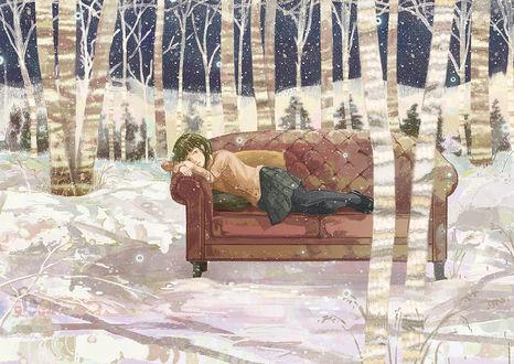 Обои Девушка лежит на диване в зимнем лесу, by げみ*ティアむ04b