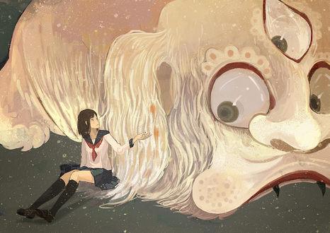 Обои Девушка протягивает руку трехглазому демону, by げみ*ティアむ04b