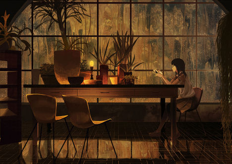 Обои Девушка читает книгу, by げみ*ティアむ04b