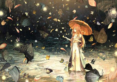 Обои Девушка с зонтом стоит в воде в окружении бабочек, by げみ*ティアむ04b