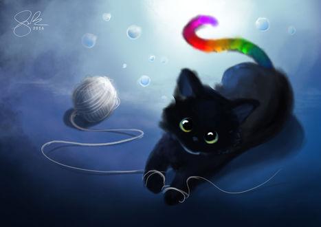 Обои Черный котенок с разноцветным хвостиком лежит на полу возле клубка белых ниток, by Shellz