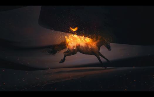 Обои Огненная птица и лошадь, объятая пламенем, by Neverrmind