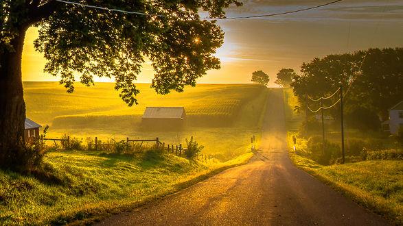 Обои Ферма у дороги в закатном свете
