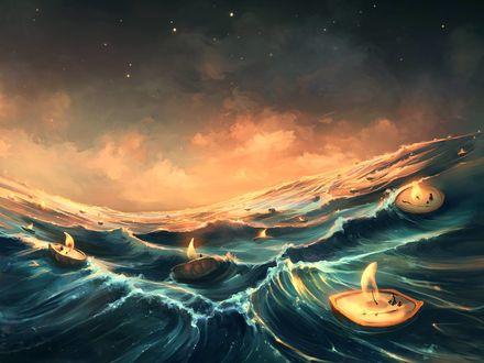 Обои Множество плывущих на воде огней, by Aquasixio - Cyril ROLANDO