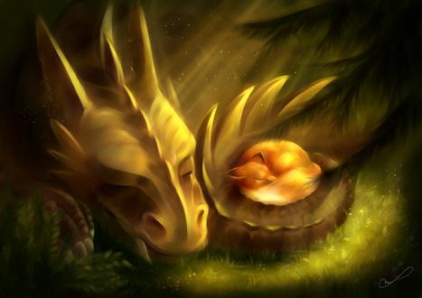 Обои Лисичка спит в хвосте дракона, by Martith