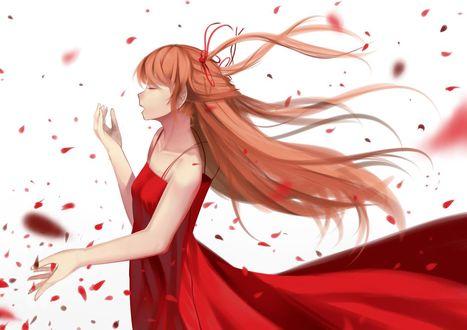 Обои Аска Лэнгли Сорью / Asuka Langley Soryu из аниме Евангелион / Evangelion, в красном платье стоит в профиль под падающими лепестками