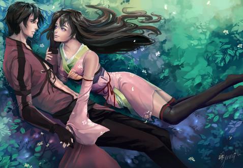 Обои Влюбленные Zennosuke / Зеноске и Kotori / Котори на фоне природы, by Jyundee