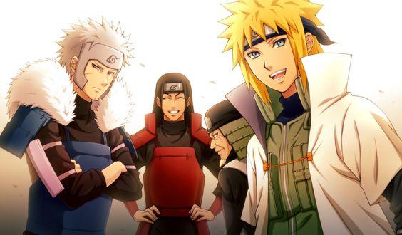 Обои Минато Намикадзе / Minato Namikaze, Tobirama и Hashirama Senju из аниме Наруто / Naruto