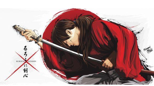 Обои Химура Кеншин / Himura Kenshin вынимает катану из ножен, персонаж из аниме Самурай Х / Samurai Х / Бродяга Кеншин / Tramp Kenshin
