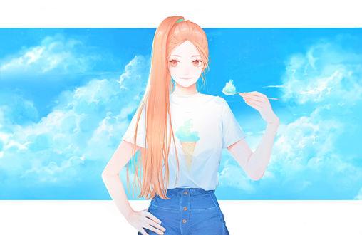 Обои Девушка на фоне неба с ложкой в руке, автор Moss