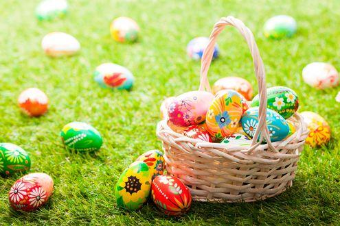 Обои Корзинка с пасхальными яйцами и яйца на траве