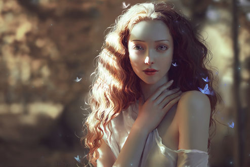 Обои Милая девушка в окружении бабочек, by ChubyMi