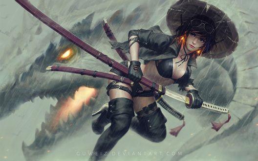Обои Девушка в шляпе с оружием в руках, by GUWEIZ