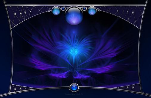 Обои Абстрактное свечение внутри серебристой рамки с драгоценными камнями, автор Nathan Smith