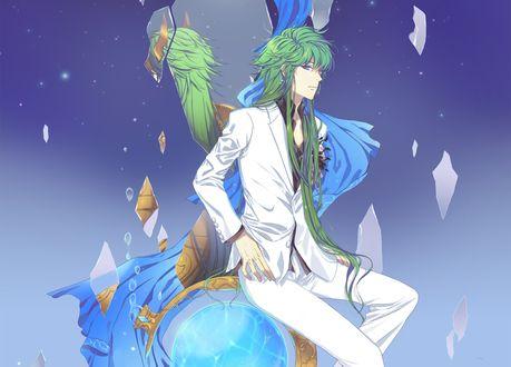 Обои Парень с длинными зелеными волосами в белом костюме сидит на глобусе среди осколков зеркала из аниме Saint Seiya