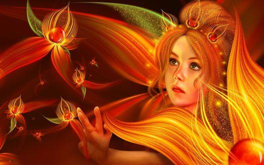 Обои Девушка тянется к оранжевому цветку