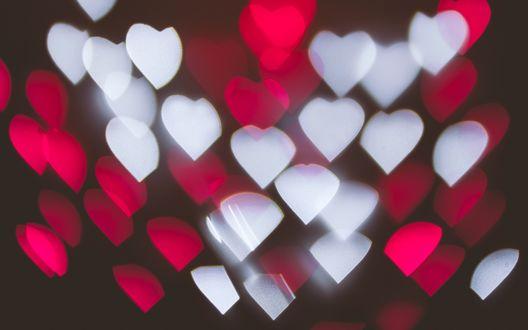 Обои Разноцветные сердечки, парящие в пространстве