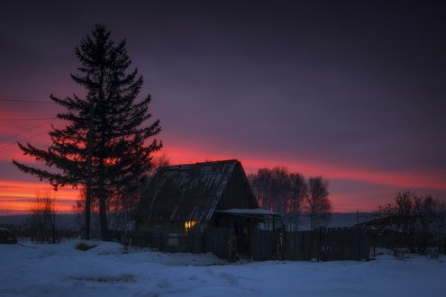 Обои Деревянный домик на рассвете, фотограф Анатолич