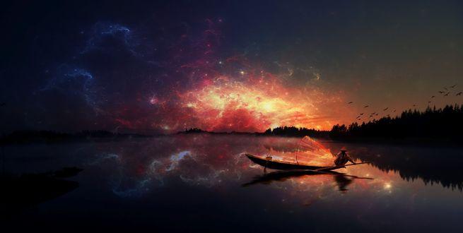 Обои Рыбак на озере на фоне красивого звездного неба