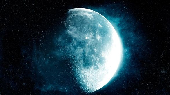 Обои Луна на фоне звездного неба