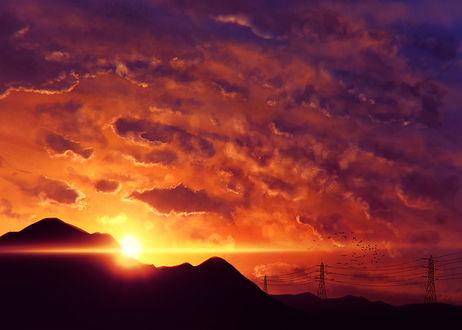 Обои Солнце прячется за гору