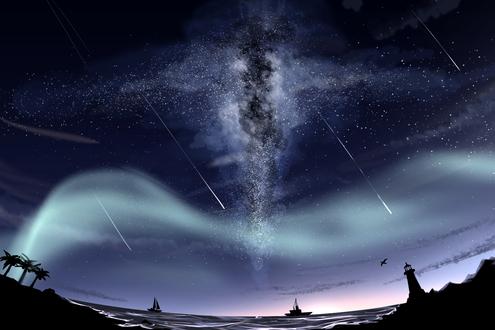 Обои Парусник и корабль под ночным звездным небом