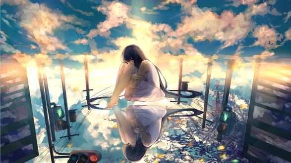 Обои Грустная девушка с длинными волосами в белом платье сидит обхватив ноги руками на зеркальной поверхности, в которой отражается залитое солнцем небо и придорожные столбы со светофорами, art by Akizuki Akira