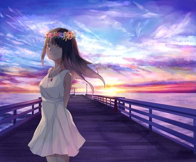 Обои Улыбающаяся девушка со слезами на глазах, в белом платье и цветочном венке, стоит на пирсе, на фоне заката, art by Akizuki Akira