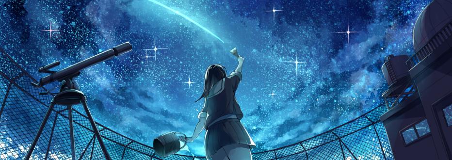 Обои Девушка в японской школьной форме, стоя на крыше с телескопом, рисует неоновой краской след от падающей звезды в ночном небе, art by Akizuki Akira