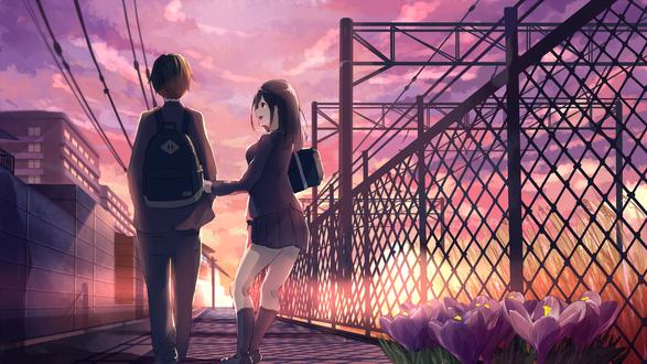 Обои Девушка с парнем в школьной форме идут по дороге мимо цветущих крокусов у ограды на закате, art by Akizuki Akira