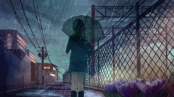 Обои Девушка в школьной форме с зонтом идет по дороге мимо цветущих крокусов у ограды под дождем, art by Akizuki Akira