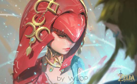 Обои Девушка в красной накидке стоит перед парнем-эльфом, by wlop