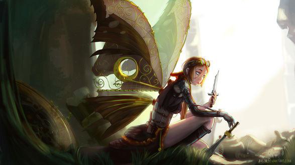 Обои Девушка-бабочка с кинжалом в руке на фоне обрывков, by JaezX