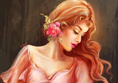 Обои Девушка с цветами на голове, by abeer malik