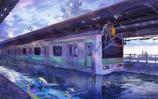 Обои Девушка с собакой сидят на крыше поезда стоящего в воде, by Lalil-le