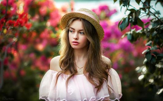 Обои Девушка Богдана в шляпке стоит на фоне природы. Фотограф Ольга Бойко