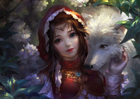 Обои Красная Шапочка с волком, by Su Fu