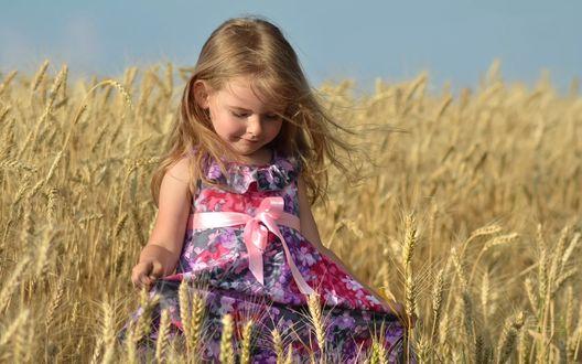 Обои Девочка в цветном платье стоит в колосящемся поле