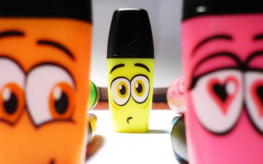 Обои Разноцветные фломастеры с глазами