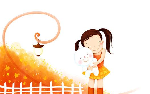 Обои Нарисованная улыбающаяся девочка с игрушкой