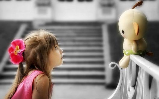 Обои Девочка с цветком на волосах смотрит на игрушку